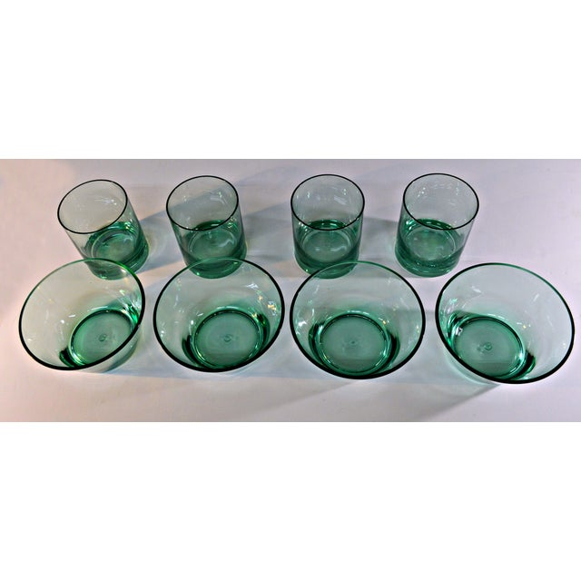 Retro Style Acrylic Green Glassware Set For Sale - Image 4 of 7