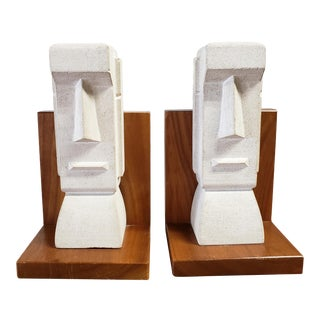 "Mid Century Stone and Walnut ""Tiki"" Bookends - a Pair For Sale"