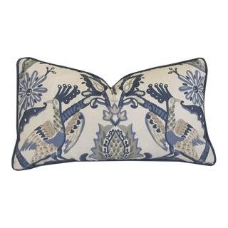 Thibaut Peacock Garden Blue Pillow Cover For Sale