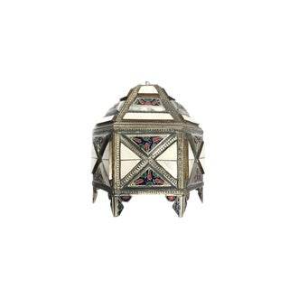 Vintage Hand Crafted Ornate Moroccan Hexagon Trinket Box For Sale