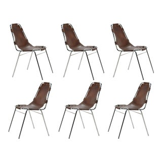 Set of Six Charlotte Perriand Les Arcs Chairs For Sale
