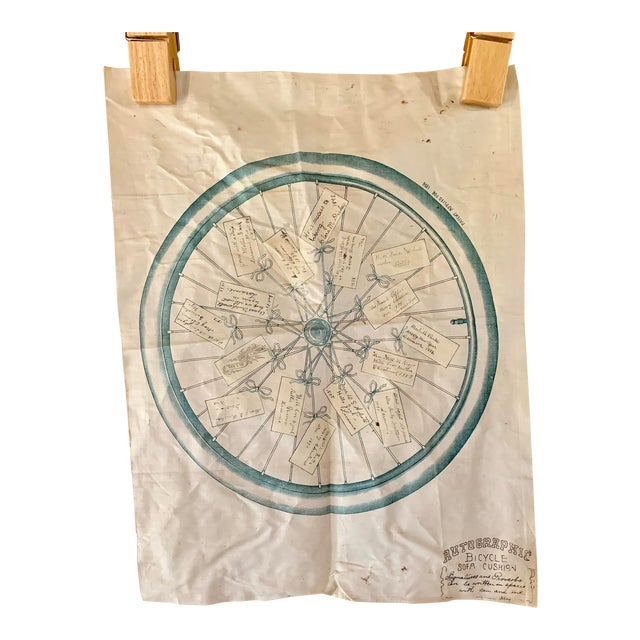 1800s Bicycle Hand Signed Pillow Print For Sale