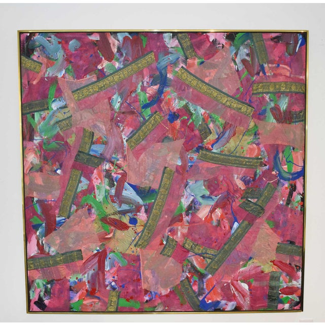Joseph M. Glasco Oil and Collage on Canvas, #34, Dated 1985 For Sale - Image 13 of 13