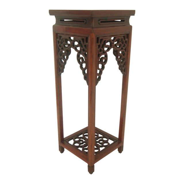 Vintage 'Ming' Style Chinese Solid Rosewood Curio Display Pedestal/Stand For Sale