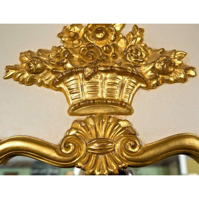 French Louis XVI Style Painted and Parcel Gilt Trumeau Mirror Exquisite Detail For Sale - Image 5 of 7