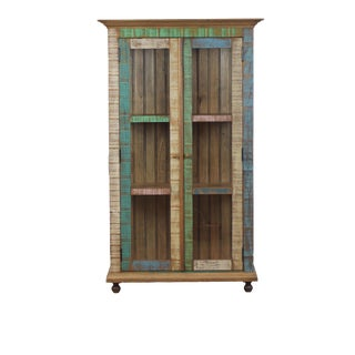 Reclaimed Wood Distressed Curio Cabinet
