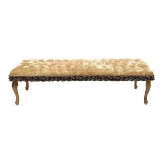 Queen Anne Style Window Bench in Tufted Velvet For Sale