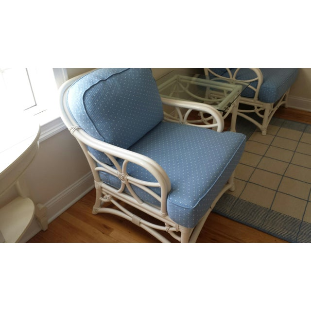 Ficks Reed Ficks Reed Blue Armchairs - A Pair For Sale - Image 4 of 4