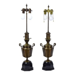 Bronze Egyptian Revival Neoclassical Style Black Marble Base Table Lamps - a Pair For Sale