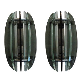 1960's Italian Glass Sconces by Veca-Pair For Sale