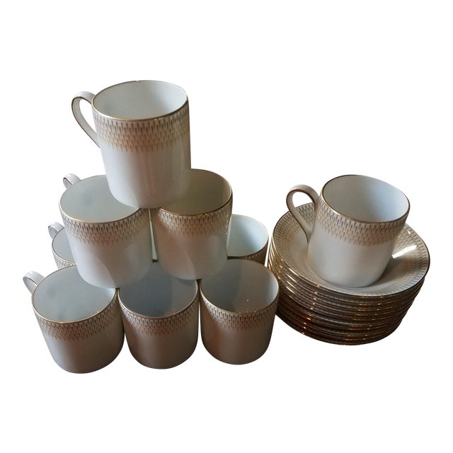 Vintage Royal Tettau Porcelain Espresso Cups & Saucers -Set of 10 For Sale