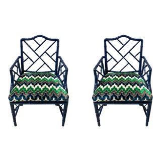 1970s Faux Bamboo Arm Chairs - A Pair