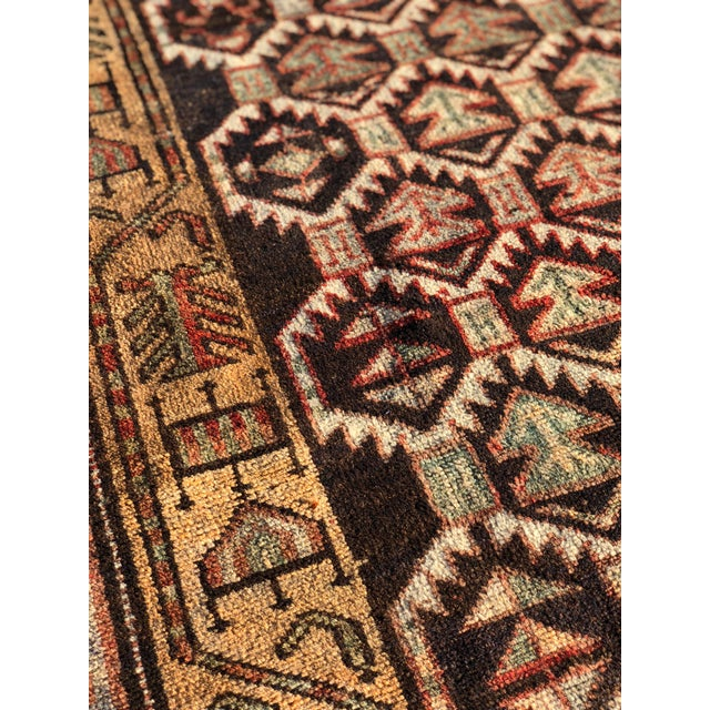 1950s Vintage Persian Meshkin Runner Rug - 3′10″ × 13′2″ For Sale - Image 9 of 13