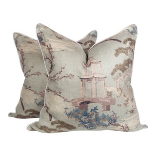 Chinoiserie Pagoda Pillows, a Pair For Sale