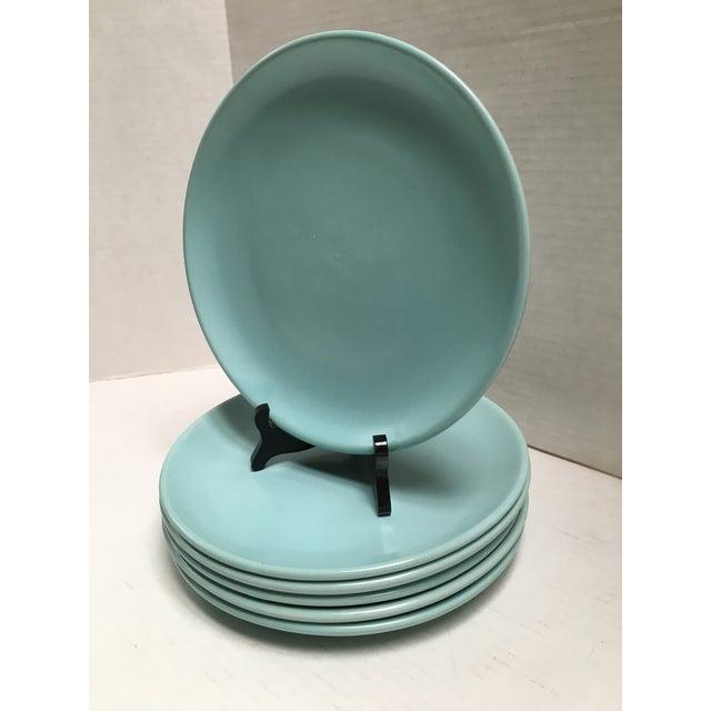 Mid Century Aqua Pottery Plates - Set of 6 - Image 3 of 8