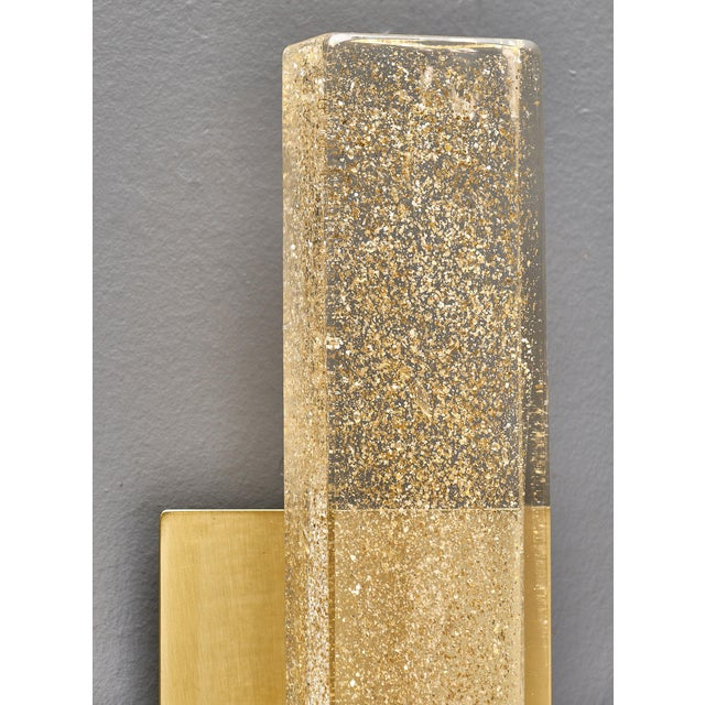 Brass Murano Glass Modern Slab Sconces For Sale - Image 7 of 11