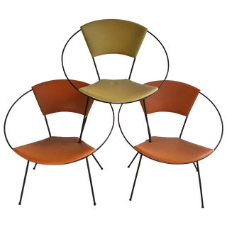 "Classic Mid-Century Modern Iron ""Hoop"" Chairs After Salterini - Set of 3 For Sale"