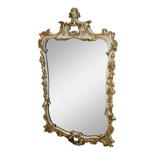 Antique French Style Carved Mahogany Distressed White & Gold Wall Mirror For Sale