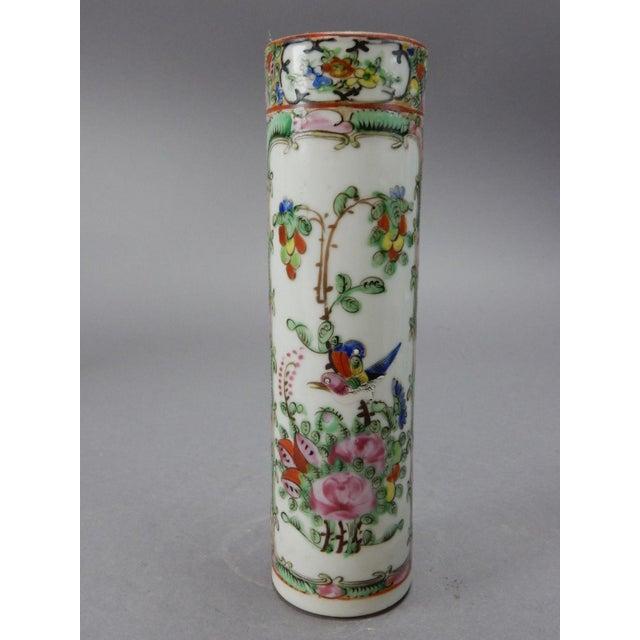 Antique Chinese Export Rose Medallion Cylinder Vase - Image 6 of 11