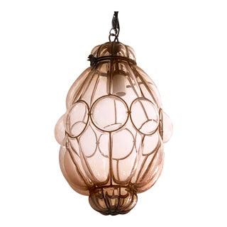 Seguso Murano Caged Studio Nude Glass Pendant Light