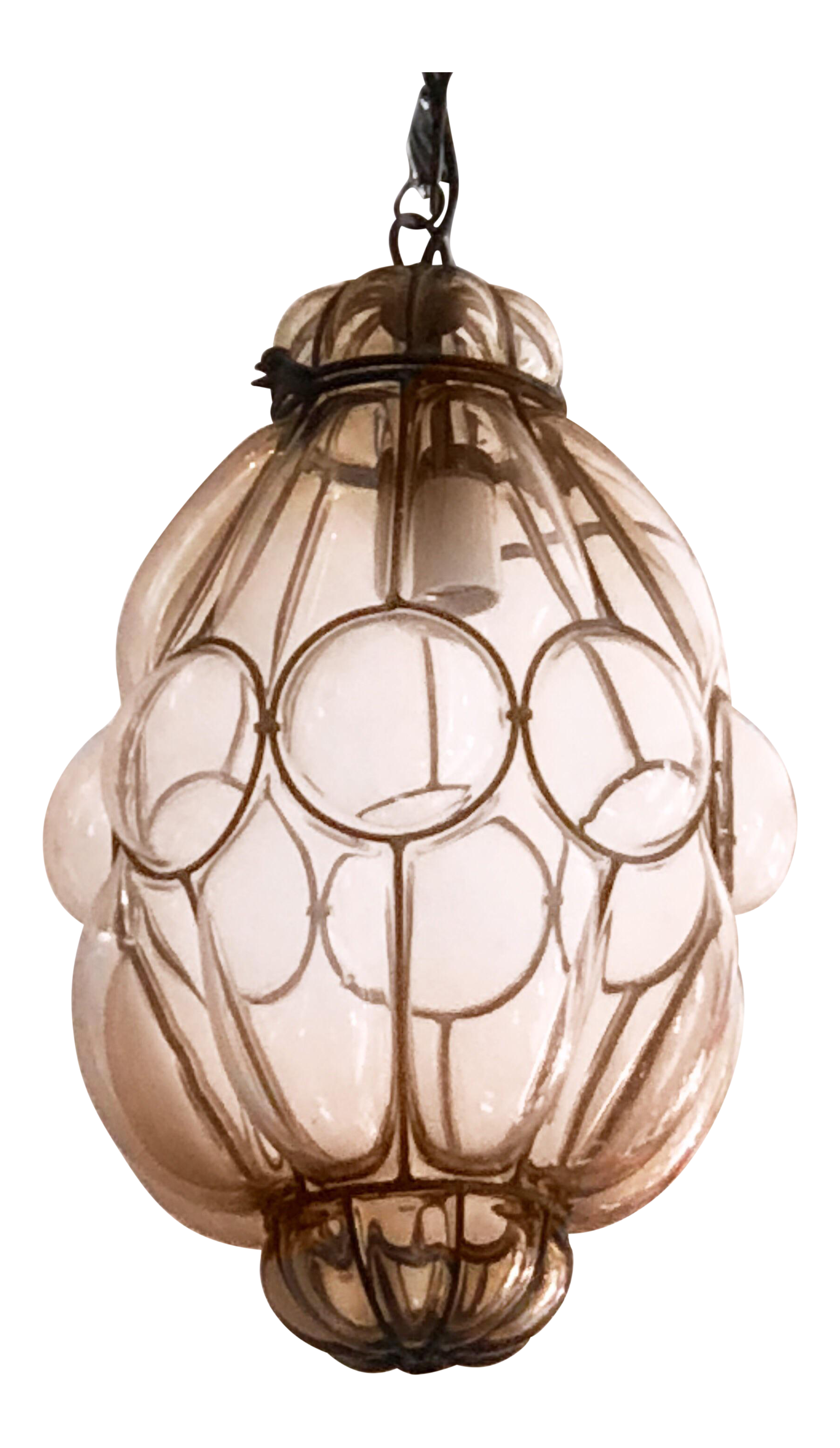 Seguso Murano Caged Studio Nude Glass Pendant Light