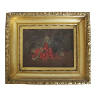 Early 20th Century Antique Cherries Oil on Canvas Painting For Sale