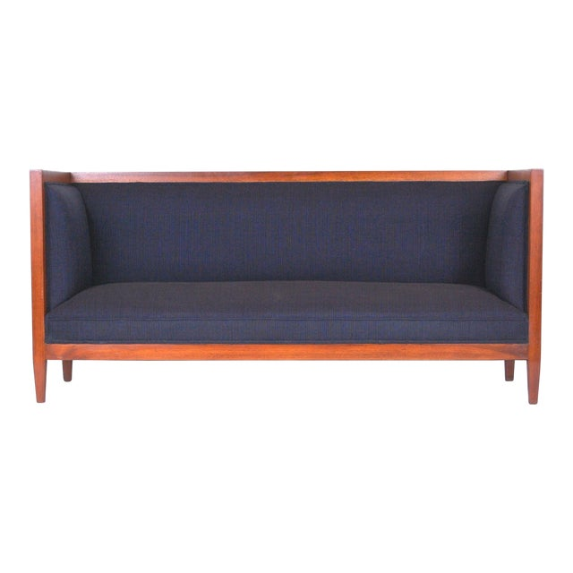 Walnut Framed Even Armed Sofa For Sale