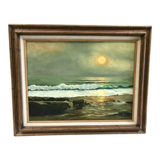 Vintage Frame Seascape at Sunset Oil Painting on Canvas Signed Jo Renzi