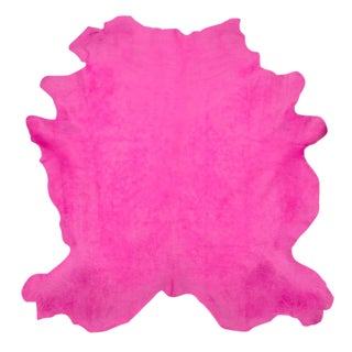 Fuchsia Cow Hide Rug - 7′ × 8′ For Sale