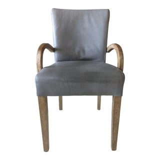 Grey Leather and Cerused Oak Side/Dining Chair