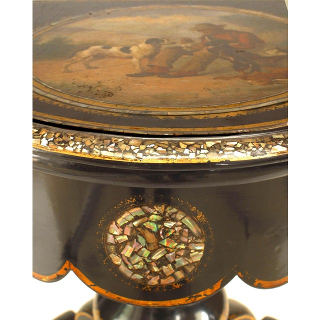 English Victorian Papier Mâché Pearl Inlaid Flip Top Console Table For Sale In New York - Image 6 of 8