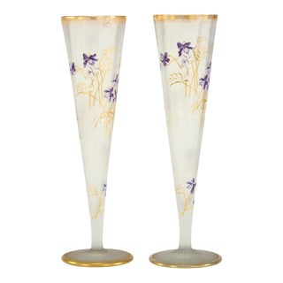 Pair of Mt. Joye Cameo Glass Tall Trumpet Vases with Violets & Gold Decoration For Sale