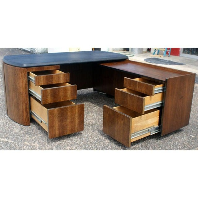 Mid Century Oak and Leather Desk by Lydia dePolo for Dunbar For Sale - Image 4 of 9
