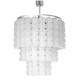 1960s Italian Venini Murano Textured Glass Tubes Chandelier For Sale