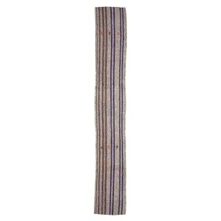 1960s Vintage Vertical Striped Long Turkish Kilim Runner- 2′5″ × 16′6″ For Sale