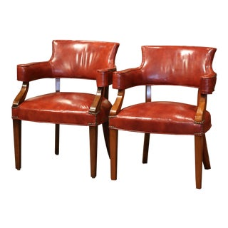 Pair of Midcentury French Louis Philippe Walnut Desk Armchairs With Red Leather For Sale