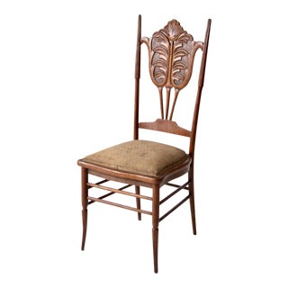 Antique Upholstered Carved Wooden Chair