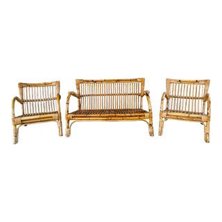 Three Piece Set Mid Century Italian Rattan and Bamboo Chairs and Settee
