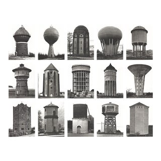 "Bernhard and Hilla Becher Water Towers 27.5"" X 27.5"" Poster 1999 Minimalism Black & White For Sale"