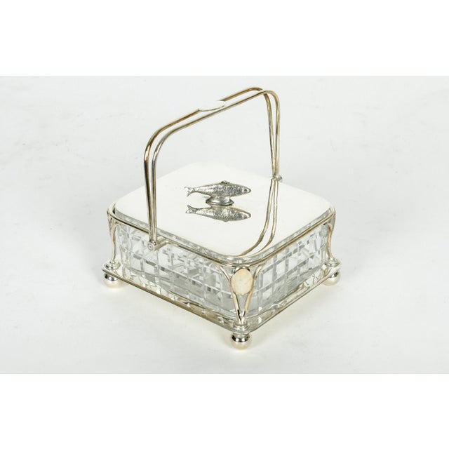 Crystal Old English Silver Plated Holder/ Cut Crystal Caviar Dish For Sale - Image 7 of 7