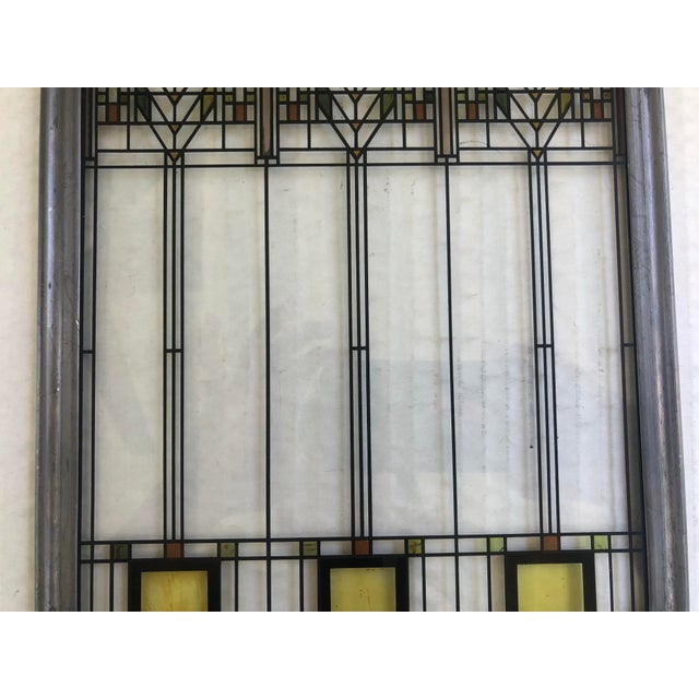 Frank Lloyd Wright Frank Lloyd Wright Inspired Stained Glass Panel For Sale - Image 4 of 8