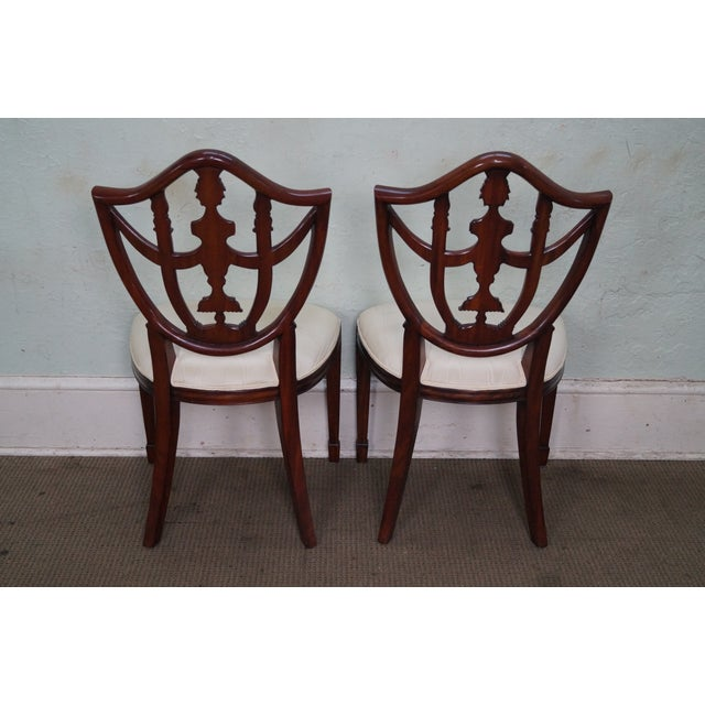 Maitland - Smith Maitland Smith Solid Mahogany Federal Style Shield Back Dining Chairs - Set of 8 For Sale - Image 4 of 10