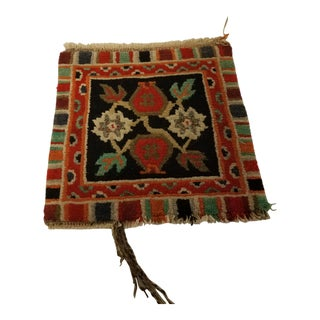 Antique American Hand-Woven Wool Rug Sample Square For Sale