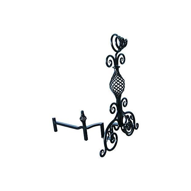 Hand-Forged 1930s Fireplace Andirons - A Pair - Image 3 of 7