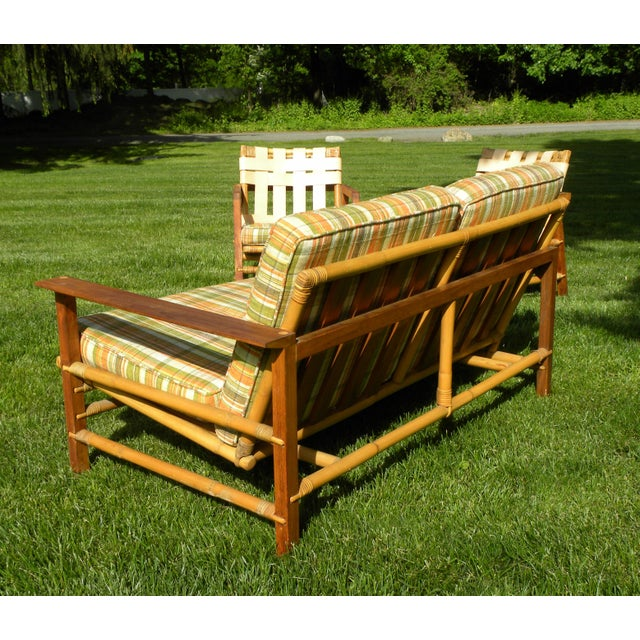 Ficks Reed Vintage Day Bed & Leather Back Chairs For Sale - Image 5 of 11