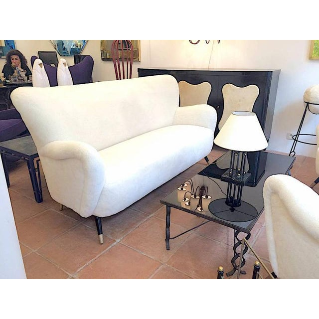 Contemporary Set of One Couch and Two Chairs in Wool Faux Fur For Sale - Image 3 of 7