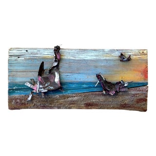 Vintage Folk Art Mixed Media Painting Metal on Wood Beach Waterscape For Sale