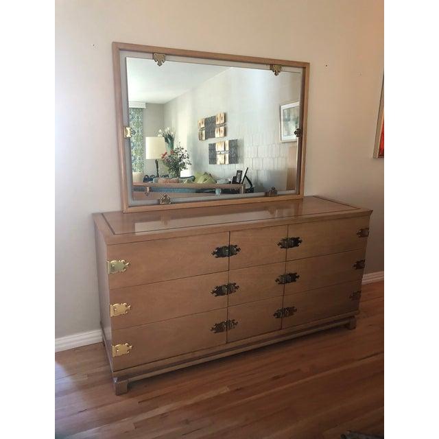 Tan 1950s Vintage Kent Coffey Dresser & Mirror - 2 Pieces For Sale - Image 8 of 8