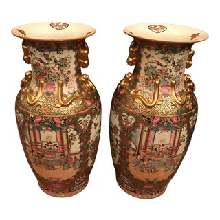 Chinoiserie Rose Medallion Floor Vases - a Pair For Sale