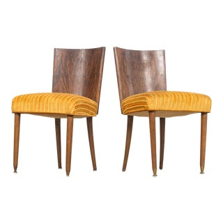 Pair of 1930s Antique Art Deco Rosewood Burl Wood Upholstered Dining Chairs For Sale
